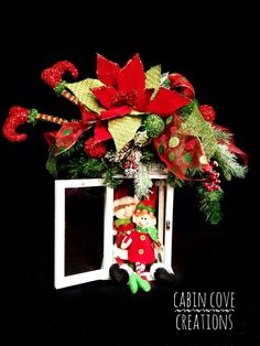 Items similar to Christmas Lantern Swag Floral Arrangement Holiday Centerpiece Elf Shelf Sitters included Red Lime CUSTOM DESIGNS by Cabin Cove Creations on Etsy Elf Centerpieces, Dining Centerpiece, Summer Centerpieces, Christmas Lanterns, Christmas Wreaths, Christmas Decorations, Christmas Ornaments, Holiday Decor, Peacock Christmas