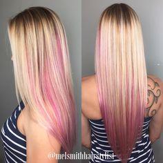 Platinum blonde and bright pink balayage. Loving this!!!