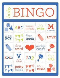 Baby Bingo for a Baby Shower