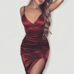 pinterest ; @saraslife1✨ Hoco Dresses, Satin Dresses, Elegant Dresses, Homecoming Dresses, Sexy Dresses, Cute Dresses, Beautiful Dresses, Fashion Dresses, Prom