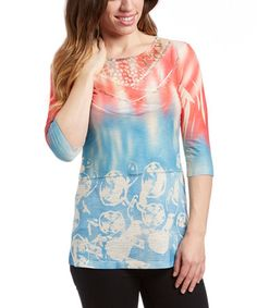 Look what I found on #zulily! Blue & Coral Scoop Neck Top by Vintage Concept #zulilyfinds