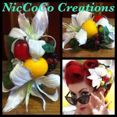 Baby Tutti Frutti Oh Ruby- the fruit and floral baby piece Fascinator Hairstyles, Hair Fascinators, Carmen Miranda, Beautiful Fruits, Tutti Frutti, Baby Size, Pin Up Girls, Hair Accessories, Halloween