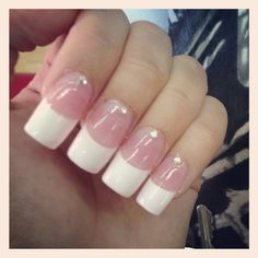 Holiday nails - White French manicure with single gem at the nail bed