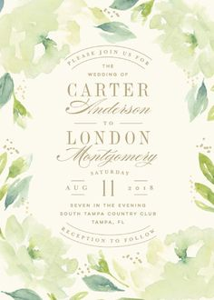 """Southern Garden"" - Customizable Wedding Invitations in Green by Lori Wemple. #greenwedding"