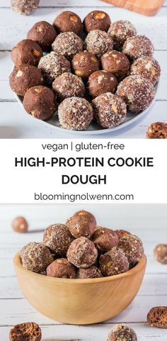 No-bake High-protein cookie dough bites made with kidney beans. Healthy, vegan, gluten-free, oil-free and no-bake. Vegan Gluten Free Desserts, Vegan Dessert Recipes, Jam Recipes, Vegan Breakfast Recipes, Healthy Desserts, Gourmet Recipes, Vegetarian Recipes, Healthy Recipes, Vegan Snacks