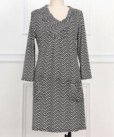 Another great find on #zulily! Black & White Zigzag Three-Quarter Sleeve Dress - Plus #zulilyfinds