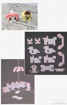 Hama Beads Kawaii, Hama Beads 3d, 3d Perler Bead, Perler Bead Templates, Animal Crossing Pc, Crafts For Boys, Beading Patterns, Pixel Art, Needlework