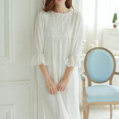 New women Pijamas High Quality Nightgowns Long Nightdress Women's Sleepwear lace fold Dress S45