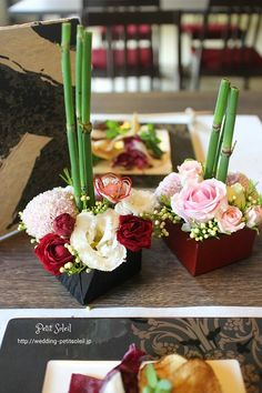 和風テーブルアレンジ Japanese wedding table flowers