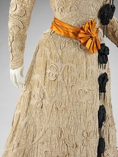 Dress, Afternoon. House of Worth (French, 1858–1956). Designer: Jean-Philippe Worth (French, 1856–1926). Date: 1905–8. Culture: French. Medium: silk, wool, rhinestones. Dimensions: Length at CF (a): 19 in. (48.3 cm). Length at CB (b): 57 in. (144.8 cm).