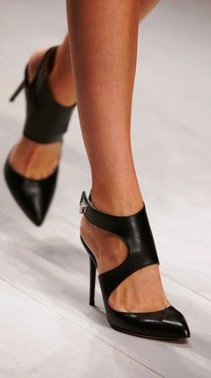 Black Leather Ankle Strap High Heels
