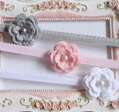 3 Headband With Crochet Flower  For Baby Girl by Anndesign2013, $7.50