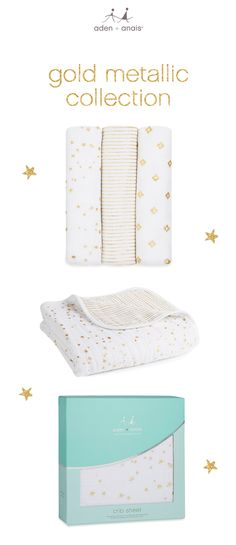 looking for a baby gift that stands out? we've got you covered with our new gold metallics collection of swaddles, blankets and crib sheets.