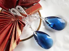 Christmas Earrings, New Year Earrings, Silver Crystal Elegant Earrings for Woman, Elegant Sapphire Earrings for Gift, Christmas Gift for Her by modotikon on Etsy