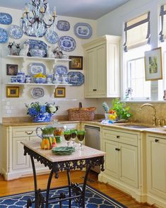 Modern-day Inside Style In Your Laundry Space Blue-And-White-Chinese-Export-Plates-Gallery-Wall-Staffordshire-Dogs-Kitchen Kitchen Colors, French Country Kitchen, Kitchen Remodel, Kitchen Decor, Modern Kitchen, Country Cottage Decor, Country Kitchen, Kitchen Design, French Country Kitchens