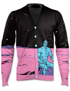 Doctor Manhattan cardigan. This is so beautiful it's making me cry. Of course Alan Moore would probably set it on fire. LOL!