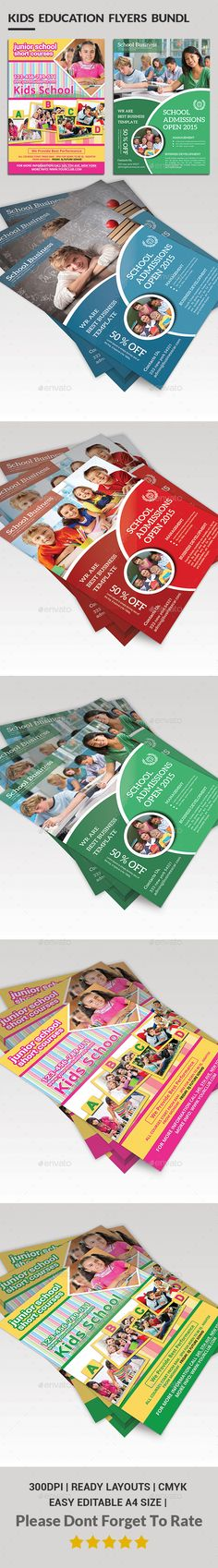 School Education Flyer Bundle Template PSD #design Download: http://graphicriver.net/item/school-education-flyer-bundle/13559806?ref=ksioks