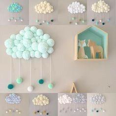 35 Creative Brings Handmade Clouds into Homes for Winter – handmade – Home crafts Kids Crafts, Diy And Crafts, Craft Projects, Projects To Try, Arts And Crafts, Diys, Diy Y Manualidades, Pom Pom Crafts, Baby Room Decor