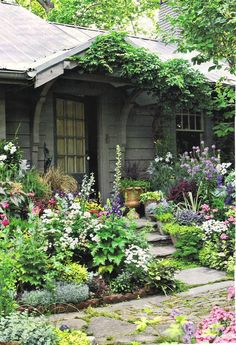 Love it! Mix of pots and urns with different flowers, plants. Walkway beautiful Borders with perennials
