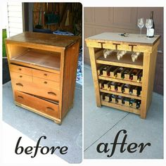 10 Ways to Redecorate Old Dressers - August 10 2019 at Refurbished Furniture, Repurposed Furniture, Furniture Makeover, Wine Rack Inspiration, Wine Rack Design, Wine Rack Storage, Tv Storage, Record Storage, Wood Wine Racks