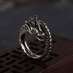 Stainless Steel Matte Finished 2 Color Spiral Dragon Chinese Zodiac Sign Concave Band Ring