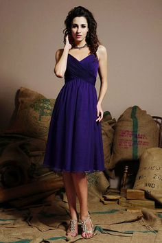 SpaghettI straps A-line with ruffle embellishment chiffon bridesmaid dress. pretty