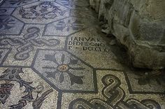 The old Roman floor mosaic in The Cathedral of Aquileia, Italy.