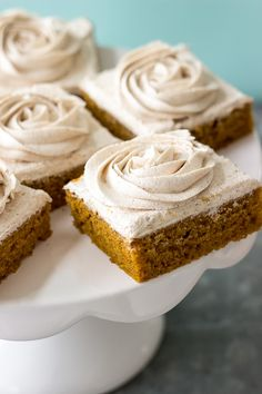 Pumpkin Squares with Cinnamon Vanilla Buttercream Frosting From: The Beach House Kitchen, please visit Yummy Treats, Delicious Desserts, Sweet Treats, Baking Recipes, Dessert Recipes, Pumpkin Squares, Sheet Cake Pan, Icing Ingredients, Vanilla Buttercream Frosting