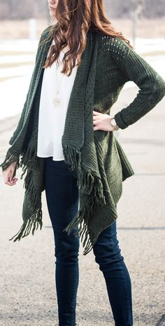 Forest Green Tassle Cardigan with American Eagle Jeans, White Nordstrom V-neck and Stone Necklace | Pressing Flowers Blog