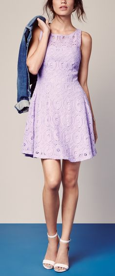 A pretty fit & flare dress paired with a denim jacket is the perfect summer outfit.