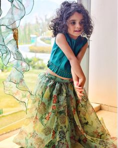 Absolutely Floored By Her Stunning Beauty? For details and colour Cu. Kids Indian Wear, Kids Ethnic Wear, Kids Dress Wear, Kids Gown, Kids Wear, Wedding Dresses For Kids, Dresses Kids Girl, Dress Wedding, Kids Frocks Design