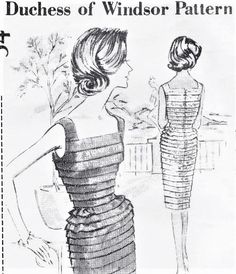 60s CLASSY Cocktail Party Evening Dress Pattern SPADEA Duchess of Windsor Bust 35 Vintage Sewing Pattern Factory Folded