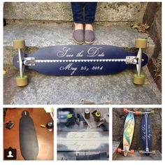 DIY, Do it Yourself, Longboard Wedding Save the Dates. All you need is a longboard, chalkboard paint, and chalk. This photo features the Apex by Original Skateboards and the Pintail 37 by Original Skateboards.