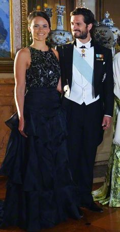 Prince Carl Philip and fiancee Sofia Hellqvist durin the Banquet at the Royal Palace for the Indian President Pranab Mukherjee on 02 June 2015