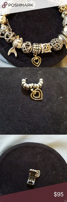 Pandora Heart of Hearts dangling heart clip This retired clip has a dangling 14k  heart.  It's an adorable clip.  Pandora item 790987. Pandora Jewelry Bracelets