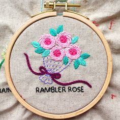 rambler rose bouquet hand embroidery Embroidery Stitches, Hand Embroidery, Rose Bouquet, Coin Purse, Detail, Floral, Needlepoint, Bouquet Of Roses, Flowers