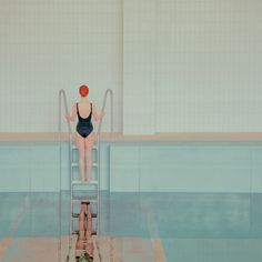 """Talented photographer based in Slovakia, Maria Svarbova ( previously ) shares her new photography series """" The Swimming Pool """" created in a moody pastel colours Swimming Pool Photography, Swimming Photos, Art Plage, Swimming Equipment, Become A Photographer, Water Reflections, Grafik Design, Soft Colors, Colours"""