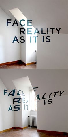 This is such a cool concept. Type written on a wall that only looks correct when viewing from a specific straight on angle.