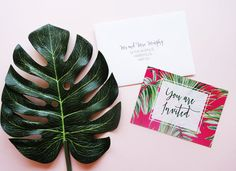 Write your own wedding invites, tropical wedding invitations, palm tree invites, modern typography