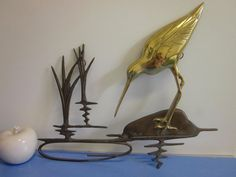 50s brass wall deco - tall bird