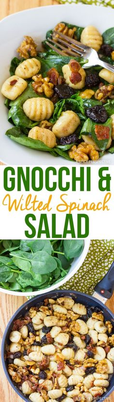 Gnocchi and Wilted Spinach Salad Recipe - Salad with gnocchi and bacon? This luxurious holiday salad could get anyone to eat their greens! via @spicyperspectiv