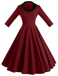 GownTown Womens 1950s Cape Collar Vintage Swing Stretchy Dresses, Red, X-Small