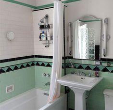 Amazing DIY Bathroom Ideas, Bathroom Decor, Bathroom Remodel and Bathroom Projects to help inspire your bathroom dreams and goals. Mint Bathroom, Art Deco Bathroom, Bathroom Colors, Bathroom Ideas, Bathroom Organization, Bathroom Mirrors, Bathroom Cabinets, Bathroom Rugs, Bathroom Storage