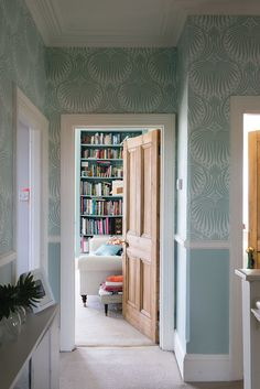 Hallway with F&B Lotus wallpaper above the dado rail. Below the dado rail painted in Teresa's Green and woodwork in Pointing. Dado Rail Bedroom, Dado Rail Living Room, Dado Rail Hallway, Grey Hallway, Front Hallway, Lotus Wallpaper, Hall Wallpaper, 1930s Bedroom Wallpaper, Wallpaper For Hallways