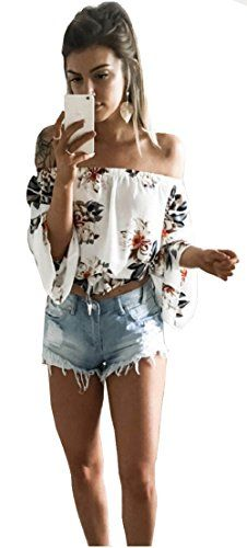 Longwu Fashion Women's Off Shoulder Floral Printed Blouse Shirt Long Sleeve Casual Tops White-L  Special Offer: $13.99  477 Reviews Size Information(Inch):S:bust:29.9″-33.9″,clothes length:17.3″M:bust:29.9″-35.8″,clothes...
