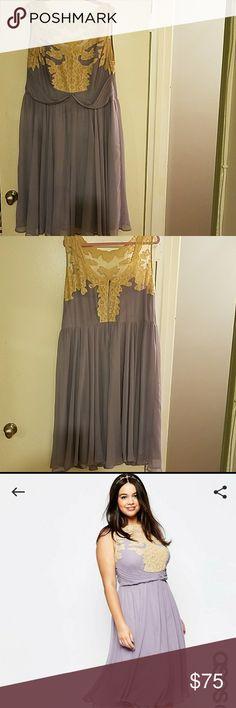 Dress ASOS lavender dress with lace detail ASOS Curve Dresses Midi