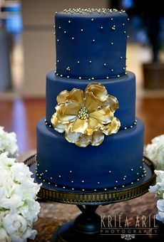 A Dark Blue, Three-Tier Wedding Cake   Wedding Cake