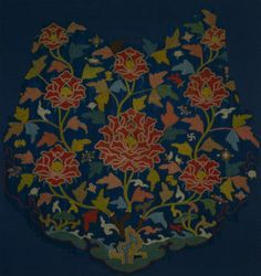 Embroidery from a Cloud Collar: Ocean, Rocks and Peonies, 14th century  China, Yuan dynasty (1271-1368) - Ming dynasty (1368-1644)  needleloop embroidery; silk and silver thread, silvered paper, Overall - h:63.20 w:59.90 cm (h:24 7/8 w:23 9/16 inches). Purchase from the J. H. Wade Fund 1993.10. Cleveland Museum of Art.
