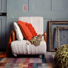 Arran cover, wooden arms, bright coloured cushions (opposite bed if we keep the built in cupboards)
