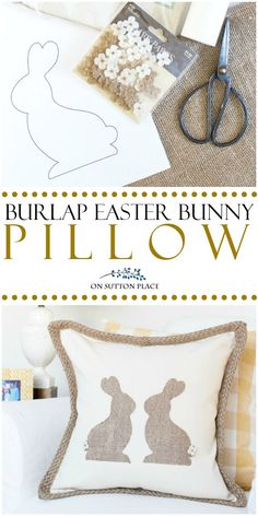 Make this DIY Burlap Easter Bunny Pillow for easy and budget-friendly Easter decor. A quick no sew project that anyone can do. Uses basic craft store supplies. #burlap #pillow #pillowcover #easter #easterbunny